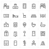 Mini Icon set – Furniture icon vector illustration