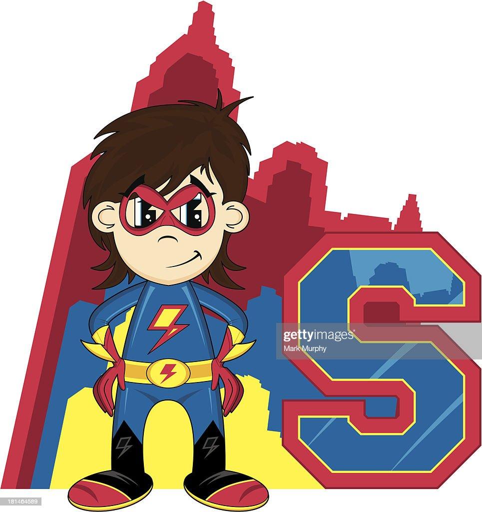 Mini Superhero Learning Letter S : Vector Art