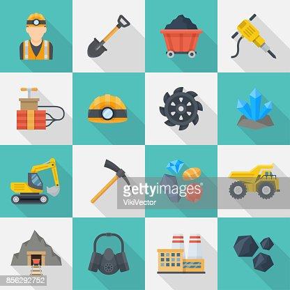 Minig industry icon cartoon set : stock vector