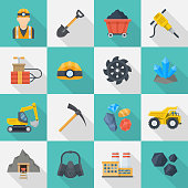 Minig industry icon set, infographics or brochure pictures in squares, coal, mineral and precious metals extraction. Vector flat style cartoon illustration