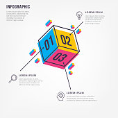 Minimal 3D infographics. Thin line minimal infographic design template. Vector element for infographic