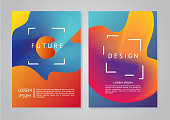 Poster set. Minimal backgrounds. Abstract future forms with vibrant gradients.