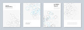 Minimal brochure templates with hexagons and lines on white. Hexagon infographic. Digital technology, science or medical concept.Templates for flyer, leaflet, brochure, report, presentation