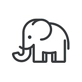 Simple and minimal elephant illustration. Modern vector line icon.