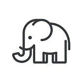 Simple and minimal elephant illustration. Modern vector line icon.