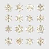 Set of minimal geometric golden snowflakes for Christmas and new year design.