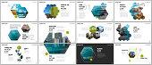 Minimal presentations design, portfolio vector templates with hexagons and hexagonal elements. Multipurpose template for presentation slide, flyer leaflet, brochure cover, report, marketing.