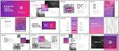 Minimal presentations, portfolio templates. Pink elements on a white background. Brochure cover vector design. Presentation slides for flyer, leaflet, brochure, report, marketing, advertising, banner.