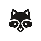 Minimal raccoon icon or logo illustration. Stylized cartoon animal face in simple vector style.