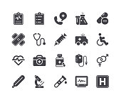 Minimal Set of Medical and Healthcare Glyph Icons
