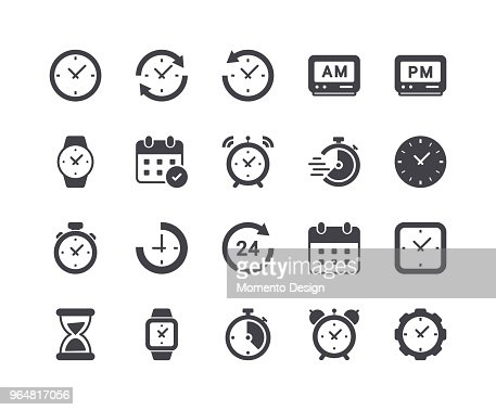 Minimal Set of Time and Clock Glyph Icons : Vector Art