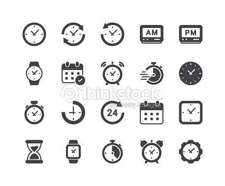 Minimal Set of Time and Clock Glyph Icons : stock vector