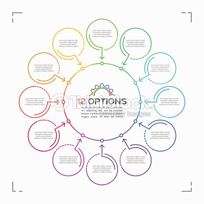 minimal style circle infographic template with 12 options ベクトル