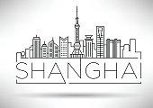 Minimal Vector Shanghai City Linear Skyline with Typographic Design