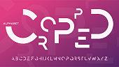 Minimalist cropped regular futuristic decorative sans serif typeface design. Vector alphabet, letters, font, typography.