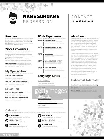 Minimalist Cv Resume Template Vector Art  Thinkstock