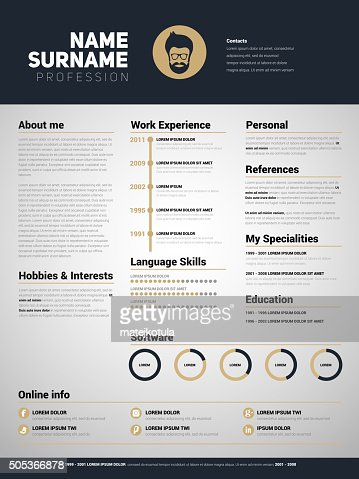 Minimalist Cv Resume Template With Simple Design Vector Art
