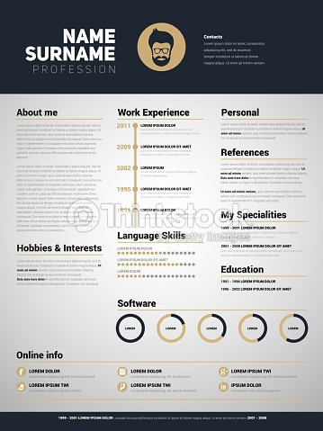 minimalist cv resume template with simple design vector art - Minimalist Resume Template