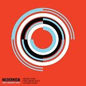 Minimalistic geometric design. Simple figure, form in orange blue color