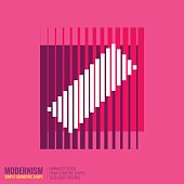 Minimalistic Geometric Design Colorful Simple Figure Form In Pink Color
