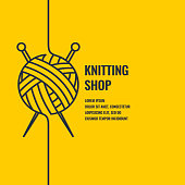 Minimalistic linear poster for knitting shop. Vector illustration.