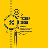 Minimalistic linear poster for textile shop. Vector illustration.
