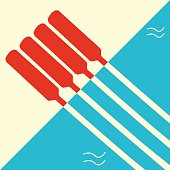 Minimalistic poster template for rowing regatta. Boat rowing race event flyer or banner.