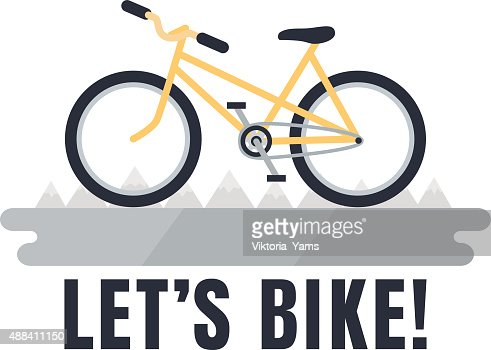 Minimalistic Yellow Bike Poster Lets Bike With Mountains Vector Art