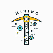 Mining and earning crypto currency. Vector illustration.