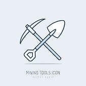 Mining tools, shovel and pick axe monoline icon vector illustration