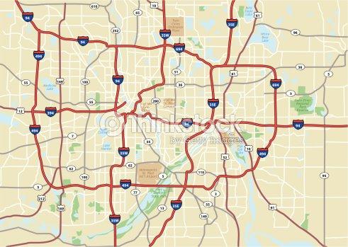 Minneapolis Area Street Map Vector Art   Thinkstock