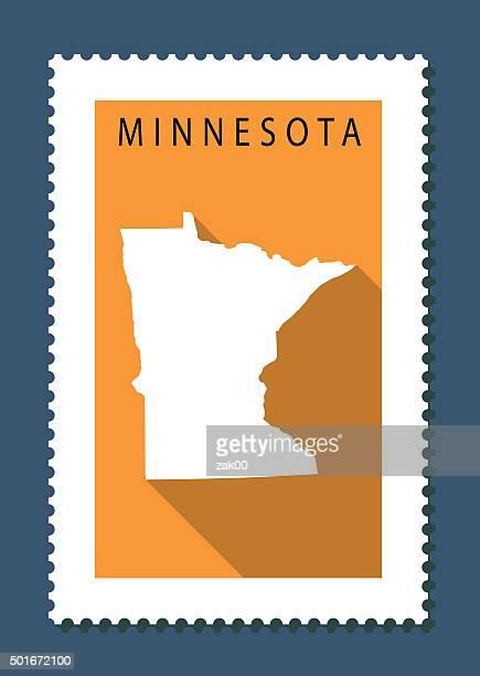 Minnesota Map on Orange Background, Long Shadow, Flat Design,stamp