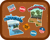 Minnesota, Mississippi travel stickers with scenic attractions and retro text. State outline shapes. State abbreviations and tour USA stickers. Vintage suitcase background