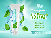 Mint toothpaste. Dent protection oral care advertizing placard vector realistic template. Antibacterial hygiene and health, clean tooth illustration