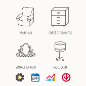 Vintage mirror, table lamp and armchair icons. Chest of drawers linear sign. Calendar, Graph chart and Cogwheel signs. Download colored web icon. Vector
