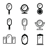 Mirror vector icons. Simple illustration set of 9 mirror elements, editable icons, can be used in logo, UI and web design