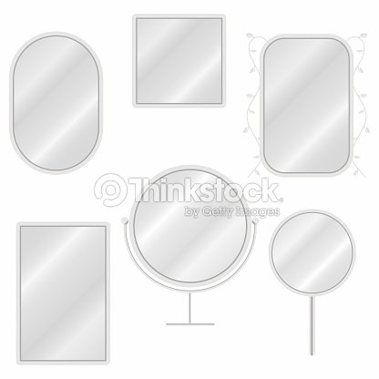 Mirrors set in different forms with blurry reflection. Vintage and modern mirrors : stock vector