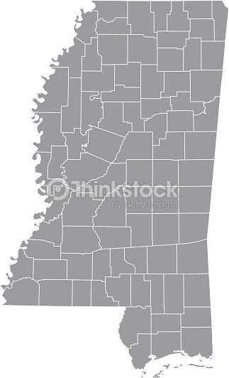 Mississippi State Map Outline.Mississippi County Map Vector Outline Gray Background Map Of