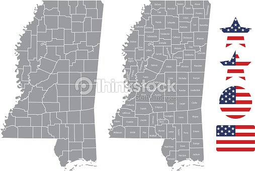 Mississippi County Map Vector Outline In Gray Background Mississippi on