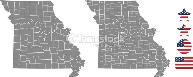 United States Map With County Names.Missouri County Map Vector Outline In Gray Background Missouri State