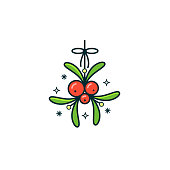 Mistletoe with red berries and green leaves hanging on thin lace. Christmas home decoration vector color line icon on isolated background.