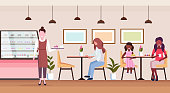 mix race people visitors sitting modern cafe shop waitress serving guests bakery cafeteria interior female cartoon characters full length flat horizontal vector illustration