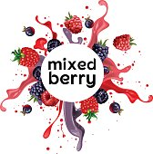 mixed berry such raspberry, blueberry, with splashing water, suitable for drink or beverages.