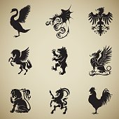 A collection of nine heraldic symbols black silhouettes in profile. From top left to right are ranked as the next swan, dragon, eagle, phoenix, bear, griffin, lion, goat, rooster
