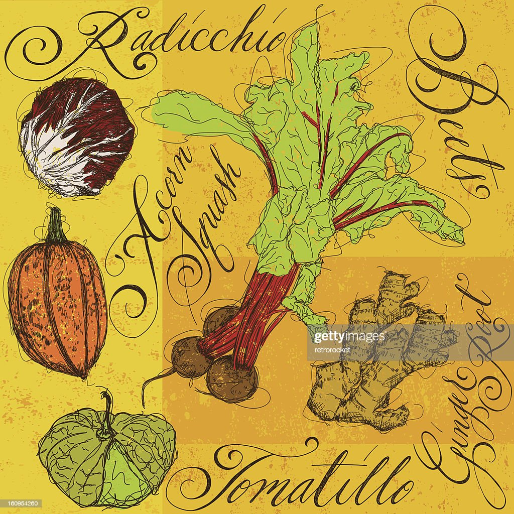 Mixed Vegetables with calligraphy : Vector Art