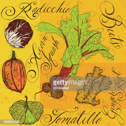 Mixed Vegetables with calligraphy : Clipart vectoriel
