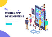 Mobile app development concept banner with characters. Can use for web banner, infographics, hero images. Flat isometric vector illustration isolated on white background.