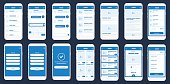 Mobile App Wireframe UI Kit. Detailed wire frame for quick prototyping. Set of mobile concept screens design mock-up. Big Vector set of mobile screens.