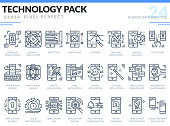 Mobile Application Development Icons Set. Technology outline icons pack. Pixel perfect thin line vector icons for web design and website application.