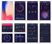 Mobile application UI and Smartphone UX vector templates with charts and diagrams. Mobile app design or mobility applications vector interface, phone internet visualization illustration